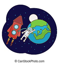 Illustration with an astronaut, rocket, moon, stars in outer space.