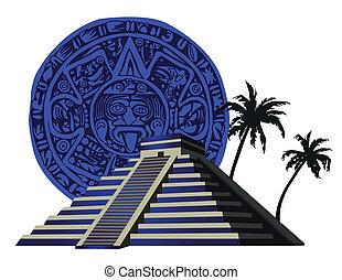 Illustration with ancient Mayan Pyramid and calendar