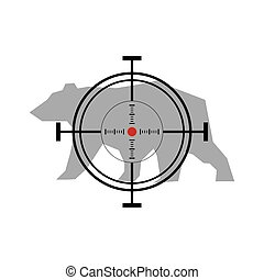 Illustration with bear hunting. Crosshair target