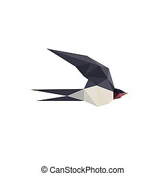 Illustration with beautiful origami swallow bird isolated on...
