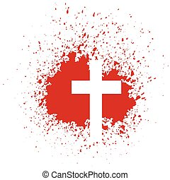 illustration with bloody cross on white background