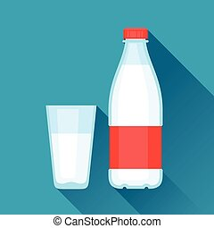 Illustration with bottle and glass of milk in flat design style