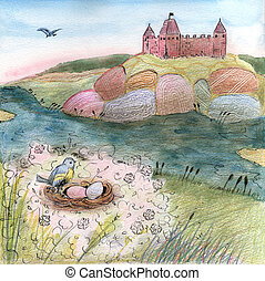 Illustration with castle on the hill