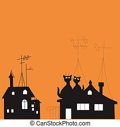 Illustration with cats on the roof