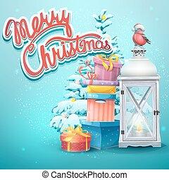 Illustration with Christmas tree, gifts, flashlight, ...