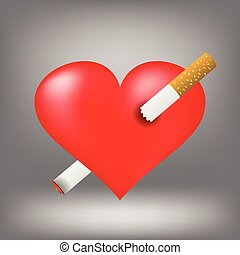 Illustration with cigarette and heart on grey background. Graphic Design Useful For Your Design. Red heart pierced by burning sigarette.
