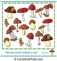 illustration with color mushrooms