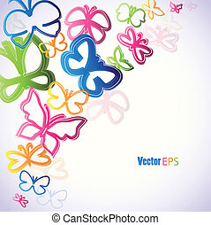 illustration with colorfull butterflies paint stain. Vector