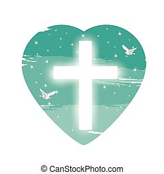 Illustration. with cross of Christ and believers.