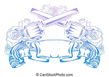 Illustration with crossed revolvers with roses and an ancient scroll. Duel. Vector element for printing on T-shirts, tattoos, registration card and your design