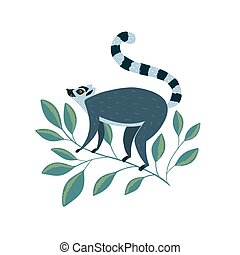 Illustration with cute lemur on the branch