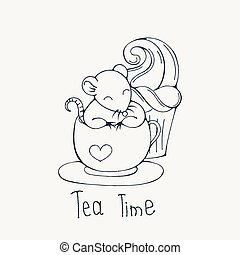 Illustration with cute rat in a cup of tea or coffee with cupcakes. Coloring page.