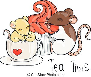 Illustration with cute rat in a cup of tea or coffee with cupcakes.