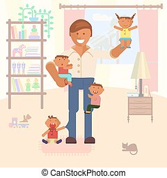 Illustration with dad and children