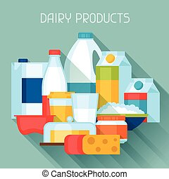Illustration with dairy products in flat design style