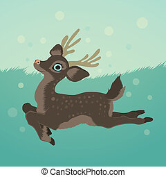 illustration with deer