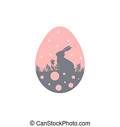 Illustration with Easter rabbit silhouette on pink egg icon
