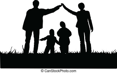 illustration with family silhouette