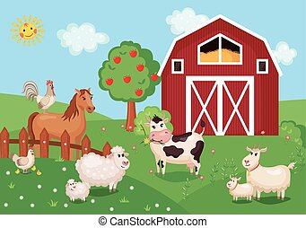 Illustration with farm animals and birds