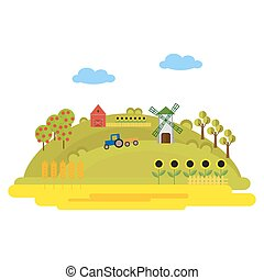 Illustration with farm buildings and a tractor on a green hill. Fields of wheat, sunflowers. Windmill and barn. Summer sunny day. Vector, illustration in flat style isolated on white background EPS10.
