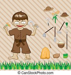 Illustration with farmers on the farm, vector cartoon