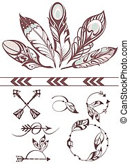 Illustration with feathers - Frames with feathers....