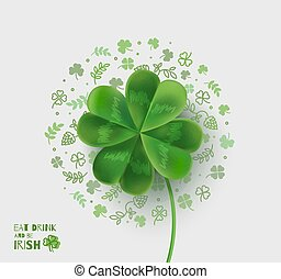 Illustration with four-leaf clover for St. Patrick's Day.
