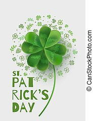 Illustration with four-leaf clover on St. Patrick's Day.