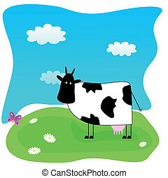 Illustration with funny cow on the meadow