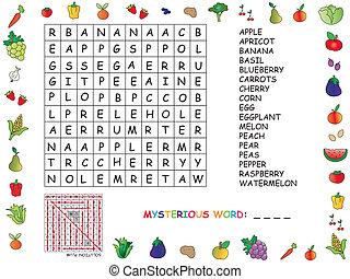 illustration with game for children : crossword