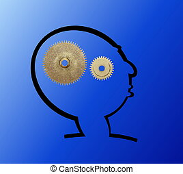 illustration with gears in brain
