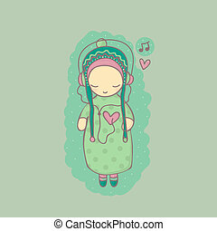Illustration with girl listening to music