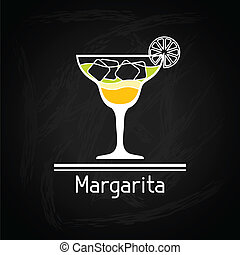 Illustration with glass of margarita for menu cover.