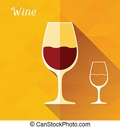 Illustration with glass of wine in flat design style.