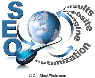 Illustration with globe, mouse and written SEO - Search Engine Optimization