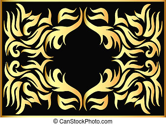 gold pattern on black background