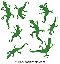 green silhouettes of salamander