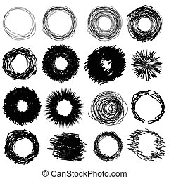 illustration with hand drawn circles on white background