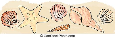 sand and shells border - Illustration with hand drawn sand...