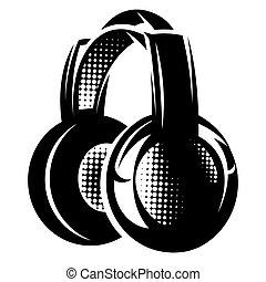 illustration with headphones on white background