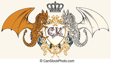 Illustration with heraldic coat of arms, crest and dragons...