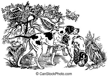 illustration with hunting dogs - hunting dogs in forest, ...