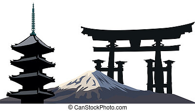Japanese Landmarks - Illustration with Japanese Landmarks; ...