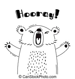 Illustration with joyful bear who shouts - Hooray. For design of funny avatars, welcome posters and cards. Cute animal.