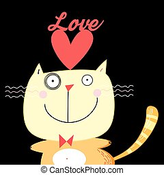 illustration with love cat