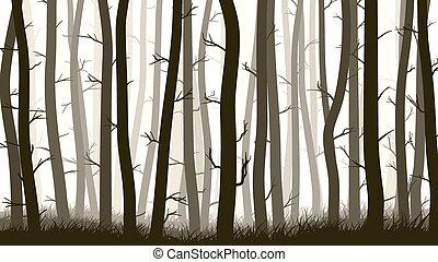 Illustration with many pine trees. - Vector horizontal ...