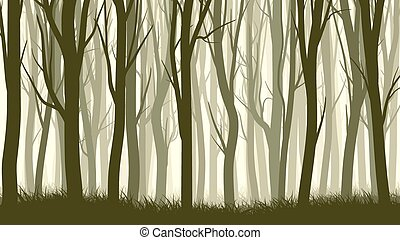 Illustration with many trunks tree. - Vector horizontal...