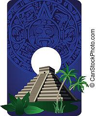 Mayan Pyramid - Illustration with Mayan Pyramid and ancient...