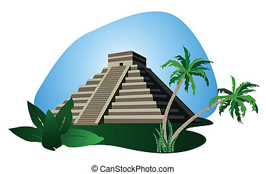 Illustration with Mayan Pyramid isolated on white background