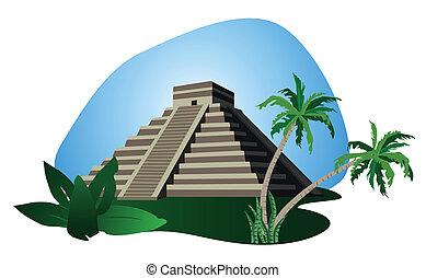 Mayan Pyramid - Illustration with Mayan Pyramid isolated on...